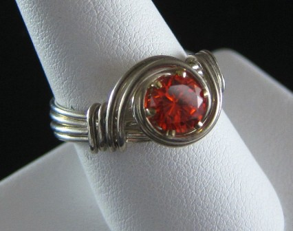 Sterling silver Hot tangerine cz ring - Size 9