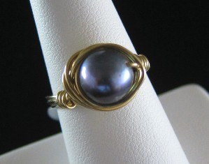 Peacock blue pearl & gold filled ring - Size 7 3/4