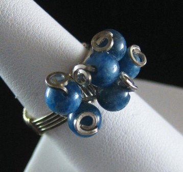 Blue agate sterling silver freeform ring - Size 7