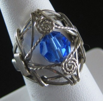 Hand sculpted sterling silver ring with blue Czech bead - Size 6 1/2
