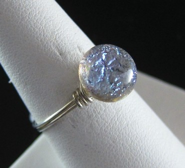 Handmade button with sterling silver ring - Size 8