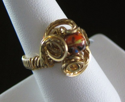 Hand sculpted beaded flower ring - Size 7 1/2