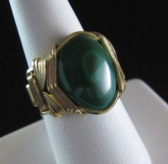 Malachite and gold filled pharaoh's ring - Size 7 1/2