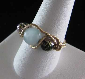 Amazonite and cloisonne' beaded ring - Size 9
