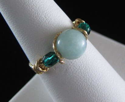 Amazonite & twisted gold filled wire ring - Size 7 1/4