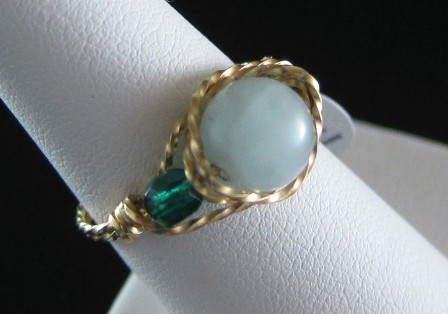 Amazonite & twisted gold filled wire ring - Size 7