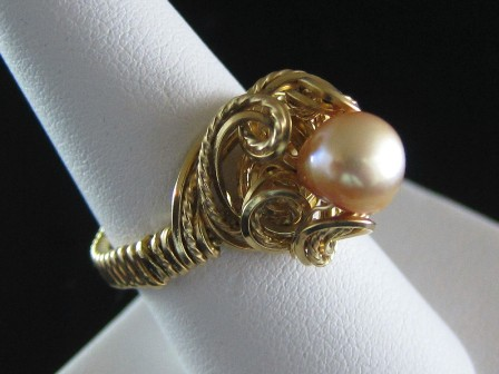 Hand sculpted gold filled baroque peach pearl ring