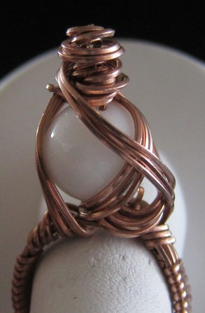 Hand sculpted copper wire & mountain jade ring - Size 8