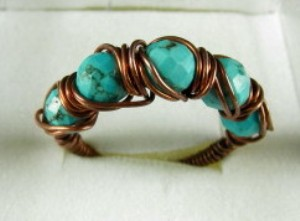 Turquoise and copper hand sculpted ring - Size 9