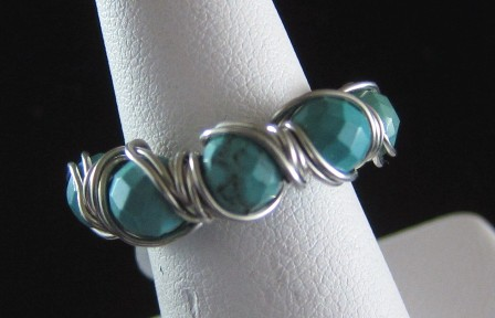 Turquoise and sterling silver hand sculpted ring