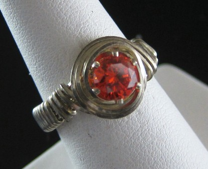 Sterling silver hot tangerine cz ring - Size 7 3/4