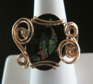 Black onyx & opal inlay hand sculpted ring - size 8