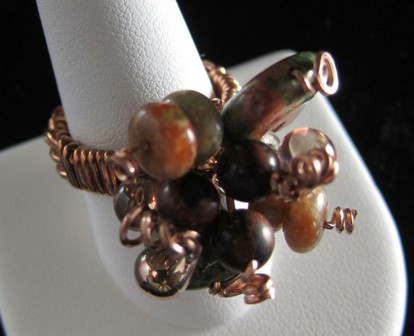 Woven copper and various gemstone beaded ring - Size 9