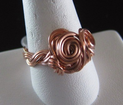 Hand sculpted braided copper ring - Size 12