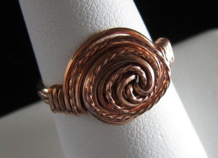 Hand sculpted twisted copper wire ring - Size 8