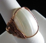 Osmina shell and sculpted copper wire ring - Size 8 1/2