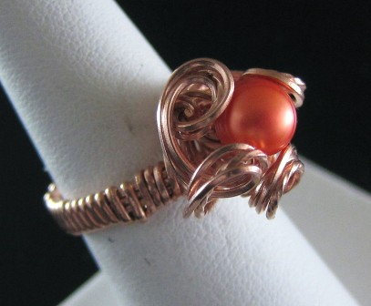 Orange pearl copper flower hand sculpted ring - Size 6