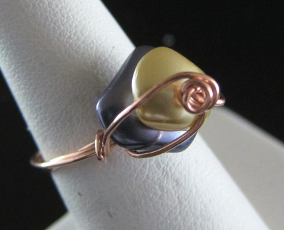 Pearlized freeform beads in hand sculpted copper wire ring - Size 7