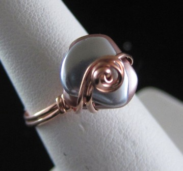 Pearlized freeform beads in hand sculpted copper wire ring - Size 6