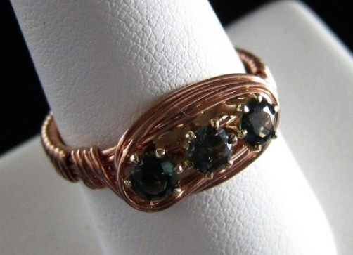 Green cz & copper wire ring
