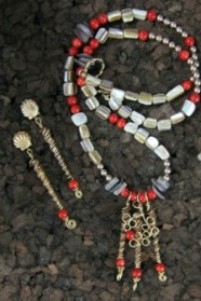 Red coral and shell necklace & earrings