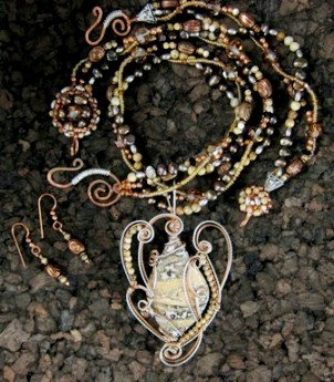 Leopardskin jasper multi-strand necklace, earrings, and bracelet
