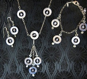 Lavender Mother of pearl and sterling necklace, earrings & bracelet