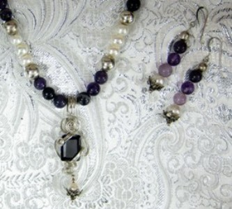 Sterling silver wrapped amethyst cz necklace and earrings
