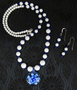 Blue glass flower pendant with white mountain jade necklace & earrings