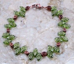 Czech green glass leaves and copper anklet