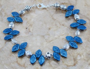 Blue and silver leaves anklet
