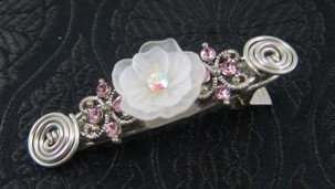 White resin flower & pink crystal flower alligator hair clip