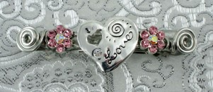 Silver love heart barrette