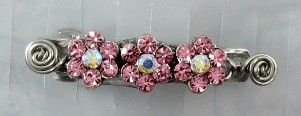 Pink crystal slider beads and silver wire hair barrette