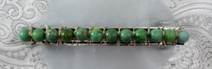 Green turquoise and sterling silver barrette
