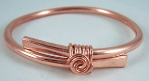 Hand sculpted copper bangle