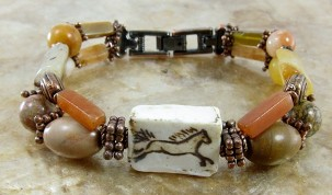 Porcelain horse bead gemstone bracelet