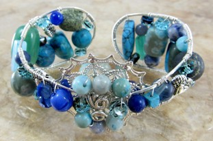 Sterling silver and blue gemstone cuff