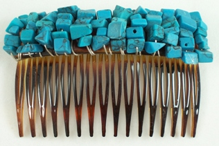 Turquoise gemstone chip hair comb