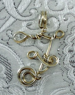 Sterling silver & Gold filled hand sculpted & woven letter F