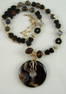 Black agate donut necklace