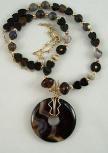 Black agate donut necklace