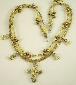 Floral Victorian sunflower cross double strand necklace