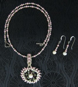 Crystal and pearl necklace and earrings