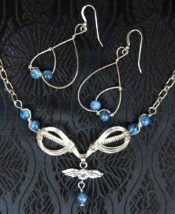 Eagle wings and blue agate necklace & earrings