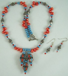 Art Deco blue/orange and pewter necklace & earrings