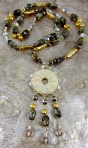 Rhyolite, gold stick pearls and pyrite necklace & earrings